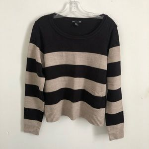 Basic H & M cropped striped sweater black/tan med